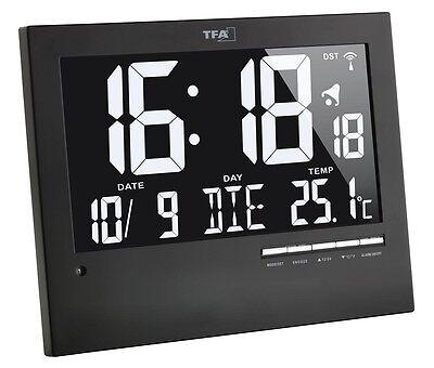 TFA 60.4508 Funkwanduhr digital lautlos beleuchtet Wohnzimmer Funkuhr Wanduhr