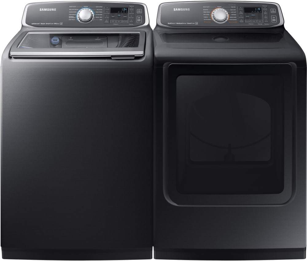 Samsung Washer and Electric Dryer, Black Stainless, WA52M7750AV and DVE52M7750V