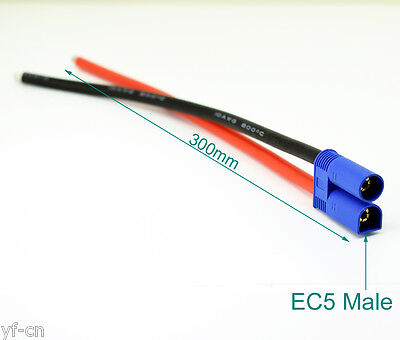1pc 1ft/30cm 10AWG EC5 Male Plug Battery Connector Silicone Wire DIY Cable
