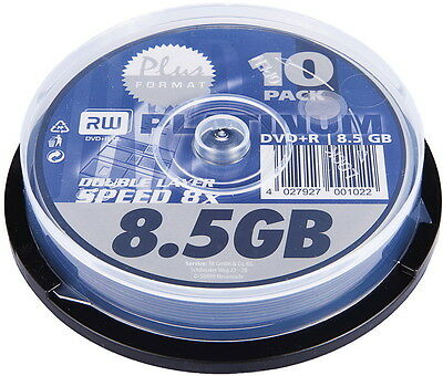10 Platinum Rohlinge DVD+R Double Layer 8,5GB 8x Spindel