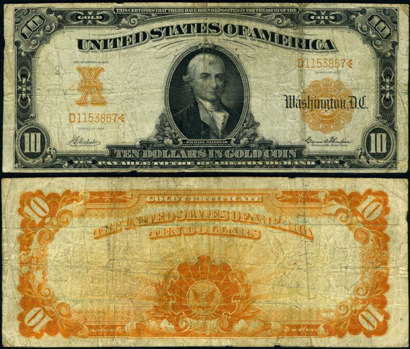 FR. 1170 A $10 1907 Gold Certificate Fine