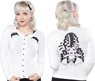 130674 White Frankengal Cardigan Sweater Sourpuss Bride of Frankenstein SMALL