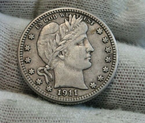 1911S Barber Quarter 25 Cents. Semi-Key Date , Nice Coin, Free Shipping (9558)