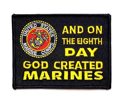On The 8th Day, God Created Marines Military Embroidered Patch Iron Sew (On The 8th Day God Created Marines)