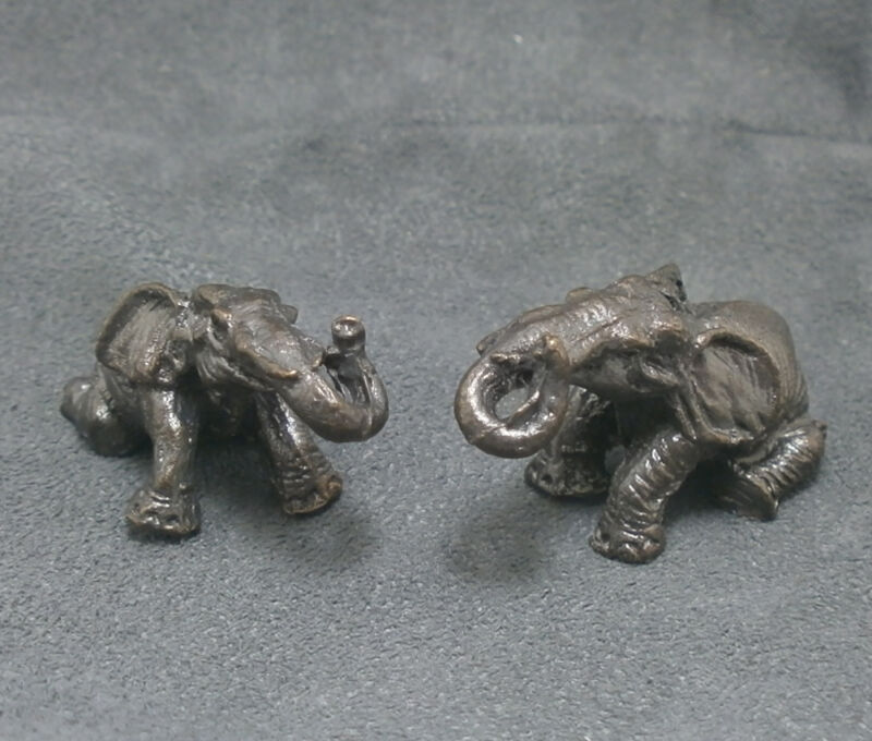 MAGIC DUO ELEPHANT THAI MINI AMULET RICH LUCKY PEACEFUL HAPPY SUCCESS GOOD LIFE