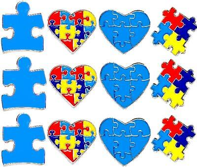 12 Pack Variety Autism Awareness Heart Puzzle Pieces Lapel Hat Pins Gift 7306](Blue Puzzle Piece Lapel Pin)
