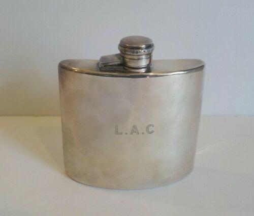 "Antique English YATES E.P.N.S. Pocket Flask, Monogram ""L A C"""