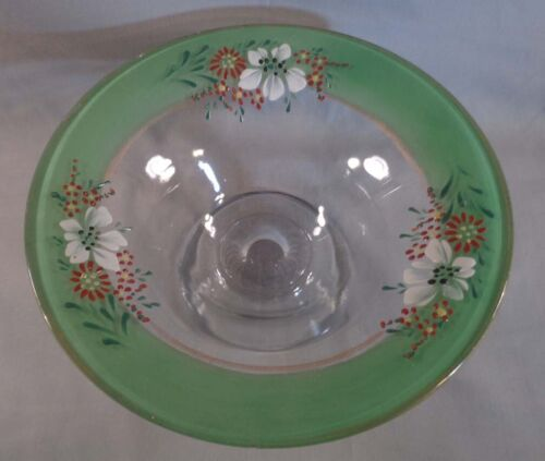 Vintage Hand Painted Glass Compote Candy Dish Bowl Stemmed Pedestal