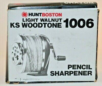 New Vntg Hunt Boston Ks 1006 Light Walnut Woodtone Pencil Sharpener