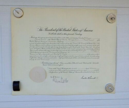 1938 Consul General Appointment Document Singed FRANKLIN D ROOSEVELT FDR