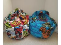 Kids Beanbags x2 (Marvel Comics and Ninja Turtles Bean Bags). Can be sold individually.