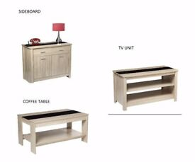 Brand new 3 piece living room furniture set 2 DOOR SIDEBOARD + COFFEE TABLE + TV STAND/UNIT - OAK.