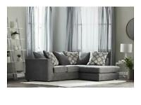 Modular grey corner sofa, wide seats over 60cm for very comfortable lounging.