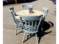 Painted Round Pedstal Diing Table and 4 Chairs