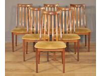Attractive Vintage Retro 60/70's Set of 6 Teak G PLan Dining Kitchen Chairs