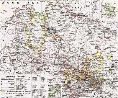 Alte Landkarte NIEDERSACHSEN Hannover Emden Braunschweig Osnabrück Harz 1844