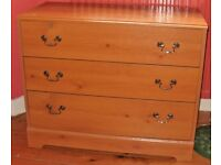 LIGHT WOOD CHEST OF DRAWERS (3 Drawers) & BRASS MOUNTED
