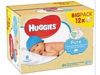 9 Huggies baby wipes