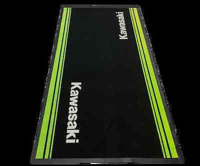 KAWASAKI PIT MAT Garagenmatte Garagenteppich Bike schwarz grün von BikerWorld