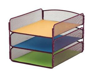 NEW Safco Products 3271WE Onyx Mesh Desktop Organizer with Triple Tray, Wine