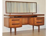 Vintage Long Retro G Plan Fresco Teak Floating Top Twin Pedestal Dressing Table