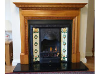 Victorian style fire surround, tiled C.I inset including gas fire & coaols