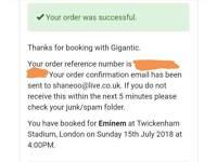 2 x Eminem standing tickets 15th July
