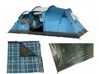 ROYAL - Brisbane 6 Tent w/ Canopy,Groundsheet,Carpet,Air beds,Cooler and more.