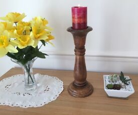 Beautiful carved wooden candle holder