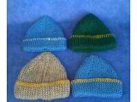New premature baby boys hats x4