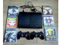 500gb ps3 2 wireless controllers and 6 games