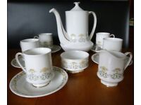 Paragon fine bone china 'FIONA' Coffee Pot, 5 Cups & Saucers, Sugar Bowl & Cream/Milk Jug