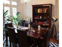 Genuine LOMBOK dark brown solid teak Malang dining table + 6 real leat