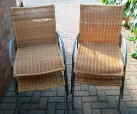 4 Metal and Wicker Chairs