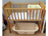 Birch Wood Baby Crib, Mattress, bumper, and Bath