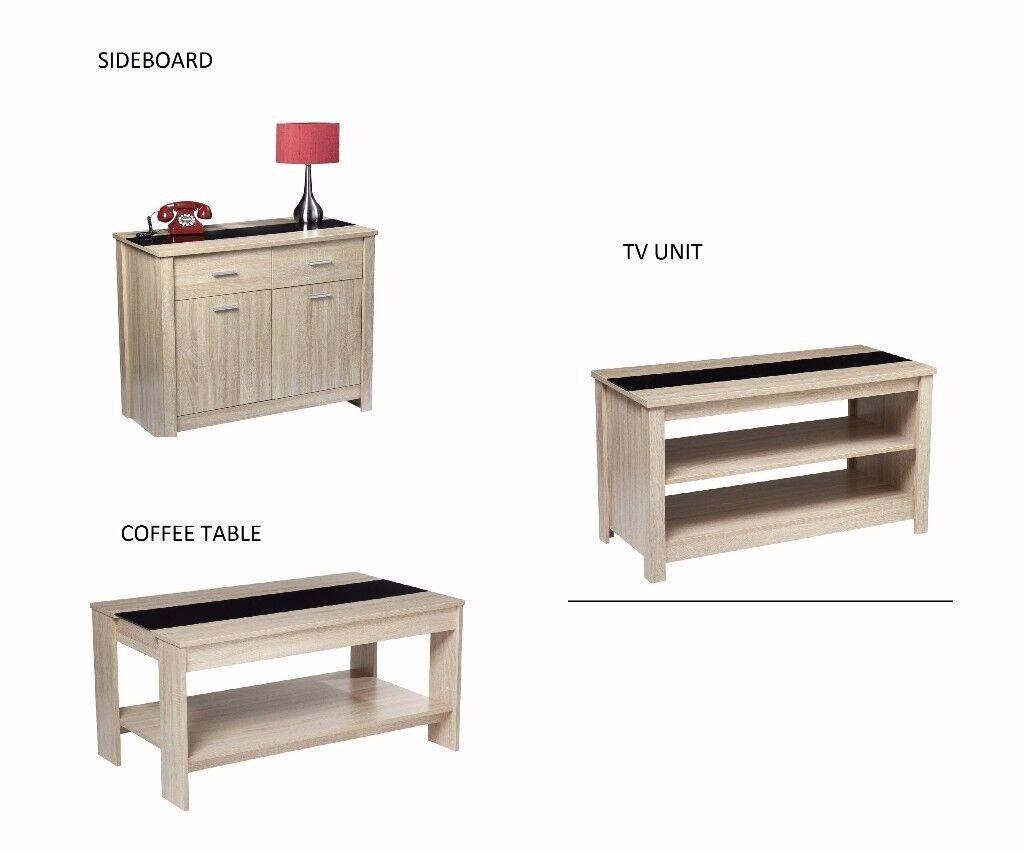 BRAND NEW LIVING ROOM FURNITURE COFFEE TABLE TV UNIT SIDEBOARD SET OAK BLACK GLASS