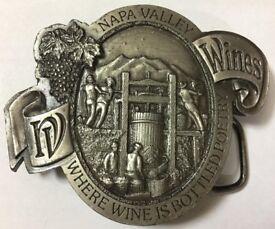 Vintage Napa Valley 1976 Wine is Poetry Belt Buckle