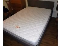 King size bed frame fabric with 1000 sprung pocket mattress