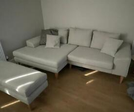 Sofa, footstool and scatter cushions