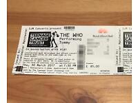 Ticket for The Who, March 30th in London