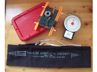 Fishing Accessories: scales/tape measure; box; line/holder and rod bag/cover. £2 the lot.