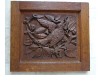 ANTIQUE CARVED WOODEN PANEL / WALL PLAQUE - 3D BIRD