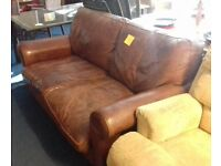 Brown Leather Sofa - Good Condition £40