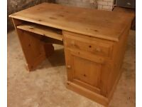 Pine Desk with drawer and cupboard