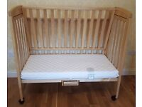 Mothercare TROLL Bedside Cot / Co-sleeper And Mattress