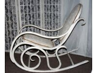 REDUCED -Vintage bentwood Thonet style rocking chair with upholstered seat and back.