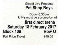 2 x petshop boys tickets leeds arena TOMORROW