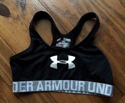 b0fdf8492ea Girls Athletic Workout Sports Bra Black White Under Armour