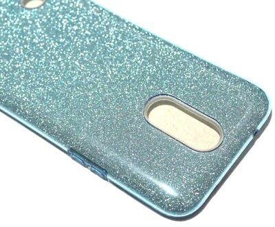 Blue Silicone Skin Case Cover (For LG V5 / K20 PLUS - BLUE Glitter Hybrid Rubber Silicone Skin Case Cover )