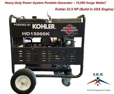 15,000 Watt Electric Start Portable Generator Kohler 23.5 HP Made In USA engine